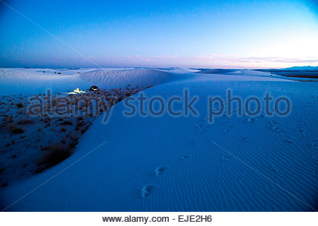 Camping in White Sand Dunes National Park. - Stock Photo
