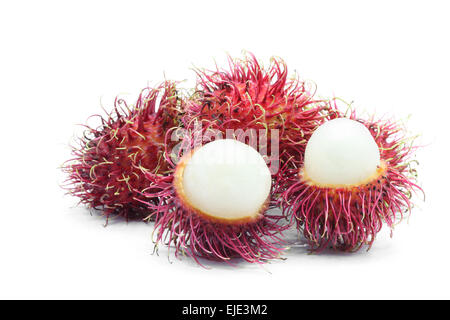 peel Rambutan sweet tropical fruit on white - Stock Photo