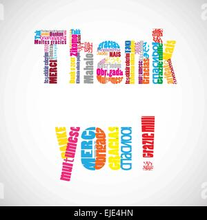 Thank you vector text with translations in many languages. - Stock Photo
