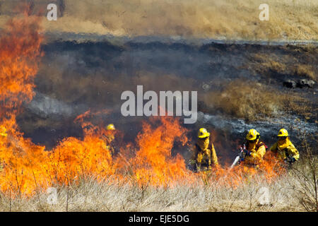 Firefighter Fighting Fire - Stock Photo