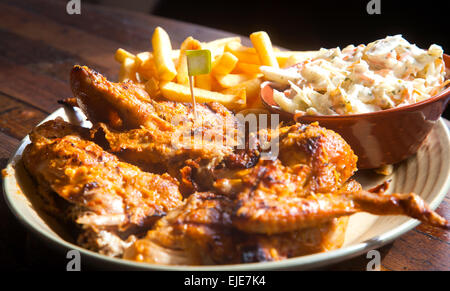 Gourmet Main Entree Course Grilled Chicken steak with spicy seasoning (Selective Soft Focus) - Stock Photo