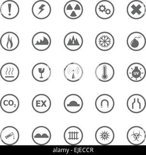 Warning sign icons on white background, stock vector - Stock Photo