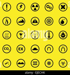 Warning sign icons on yellow background, stock vector - Stock Photo