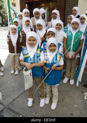 Girl scout troop from central and southern New Jersey at the 29th Annual Muslim American Day Parade in New York - Stock Photo