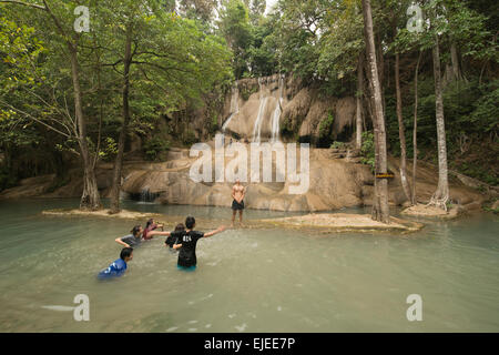 Sai Yok Noi waterfall near Kanchanaburi, Thailand - Stock Photo