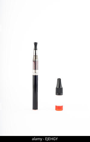 Photo of electronic Cigarette and liquid against white background - Stock Photo