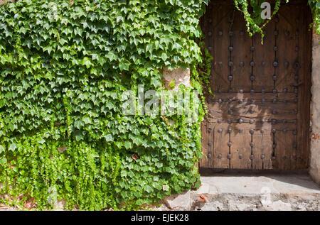 Ancient building with wooden door and ivy, La Alcarria, Spain - Stock Photo