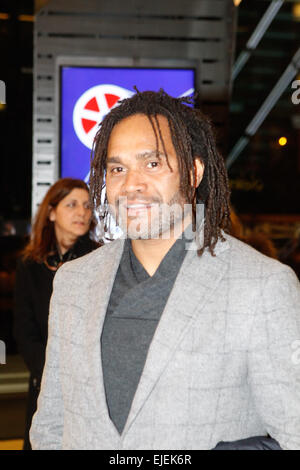 French international footballer Christian Karembeu attends at the Francophone Festival in Athens. Movies from three - Stock Photo