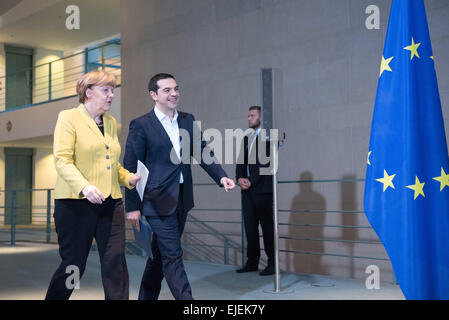 Angela Merkel, German chancellor, welcomes the Greece Prime Minister Alexis Tsipras with Military Honours at the - Stock Photo