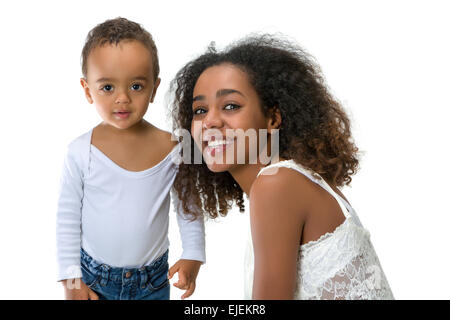 Happy African Ethiopian mother playing with her 18 month old little boy - Stock Photo