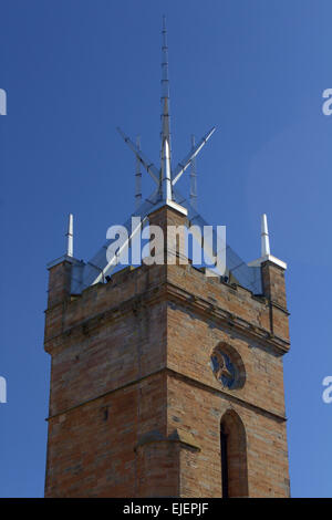 Spire of St Michael's Parish Church taken in Linlithgow. - Stock Photo
