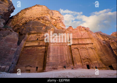 Tombs that are called 'The street of facades' in Petra in Jordan - Stock Photo