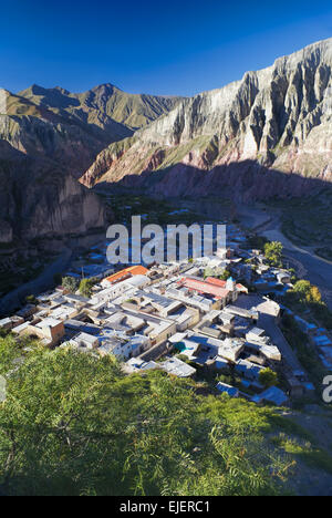Picturesque town in narrow valley Quebrada de Humahuaca in Argentina, Jujuy province - Stock Photo
