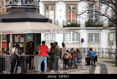 Largo de Camões Kiosk in Lisbon - Portugal - Stock Photo
