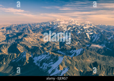 Breathtaking view from the top of Huayna Potosi mountain in Bolivia - Stock Photo