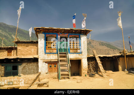 Picturesque view of old traditional Nepalese house - Stock Photo