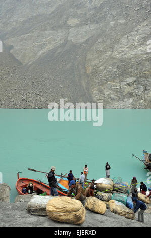 Attabad lake was formed due to a massive landslide at Attabad village in Gilgit-Baltistan, Hunza River, Pakistan, - Stock Photo