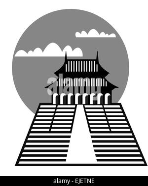 Illustration of the pagoda - archetypal symbol of the architecture of the Far East - Stock Photo