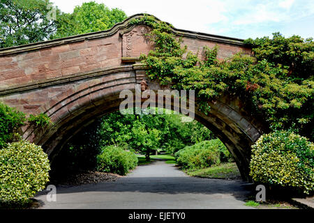 The famous and iconic Dell Bridge on the Port Sunlight Estate - Stock Photo