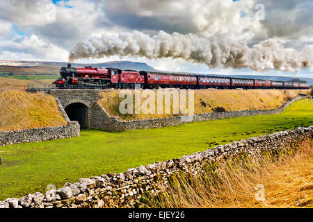 Settle, Yorkshire, UK. 25th Mar, 2015. Steam train special, The Pendle Dalesman, passes Selside in Ribblesdale, - Stock Photo