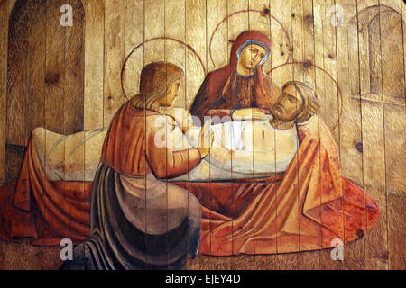 The death of St Joseph in St Joseph's Chapel Liverpool Metropolitan Cathedral - Stock Photo