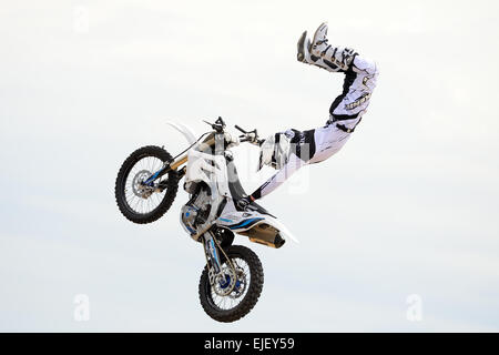 BARCELONA - JUN 28: A professional rider at the FMX (Freestyle Motocross) competition at LKXA Extreme Sports Barcelona - Stock Photo