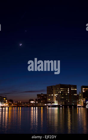 View on the Amsterdam court house at night - Stock Photo