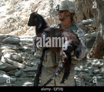 U.S. Army Spc. Patrick Keepers, of the Provincial Reconstruction Team from Forward Operating Base Kalagush, picks - Stock Photo