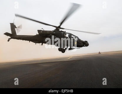 An AH-64 Apache operated by the U.S. Army's 4th Battalion, 227th Attack Reconnaissance Battalion, 42nd Combat Aviation - Stock Photo