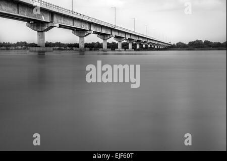 Bridge over Krishna river, Repalle, Andhra Pradesh, India - Stock Photo