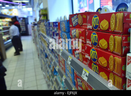 New York, USA. 25th Mar, 2015. Photo taken on March 25, 2015 shows a supermarket shelf of 'Ritz', which used to - Stock Photo