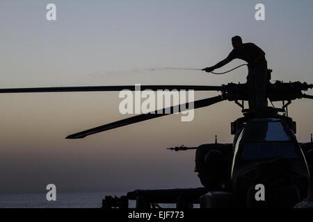 U.S. Soldiers with the 4-501st Attack Reconnaissance Battalion, 36th Combat Aviation Brigade, clean an AH-64D Apache - Stock Photo