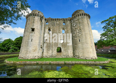 Nunney medieval moated castle, Nunney, Somerset England - Stock Photo