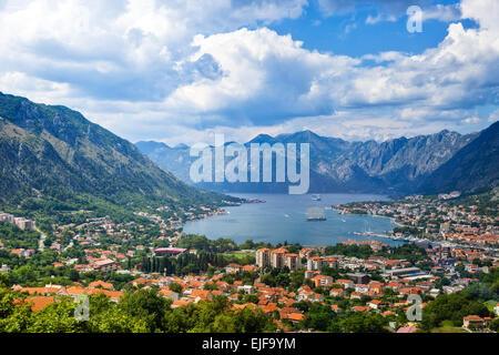 Top view of the Bay of Kotor panorama, Montenegro. - Stock Photo