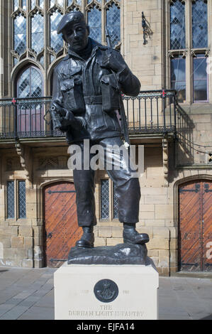 Memorial sculpture to the Durham Light Infantry by Alan Beattie Herriot  in Durham city market square, north east - Stock Photo