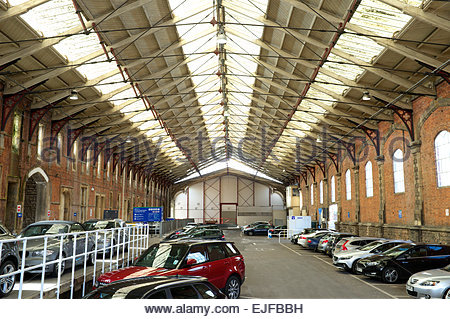 Inside the original Temple Meads railway station, showing the extended train shed section, Bristol, UK. - Stock Photo