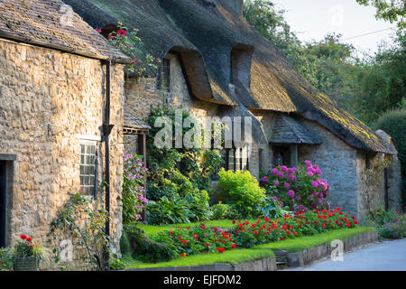 Quaint attractive traditional thatched country cottage at Broad Campden in the Cotswolds, Gloucestershire, England, - Stock Photo