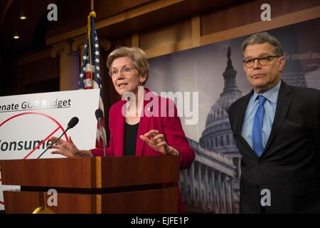 US Senator Elizabeth Warren joined by Senator Al Franken comments on the Senate Republican budget which will eliminate - Stock Photo