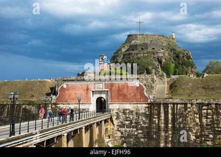 Old Fort, The Paleo Frourio, in Kerkyra, Corfu Town, Ionian Islands, Greece - Stock Photo