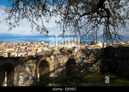 Panorama of Kerkyra, Corfu Town with Old Fort, The Paleo Frourio in Corfu, , Greece - Stock Photo