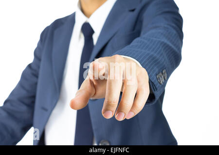 Businessman Pressing Touchscreen by Use Finger. Pushing Button of Businessman Isolated - Stock Photo