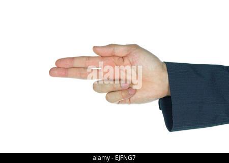 Finger gun of businessman on white background. Aiming hand sign of businessman. Shooting finger shape. - Stock Photo