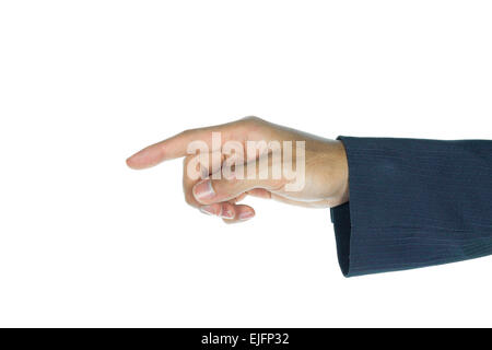 Businessman touching or pushing screen interface on white background. Index finger of businessman is pressing button. - Stock Photo