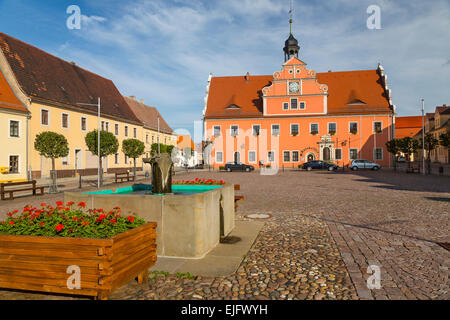 Fountain in the market square with the Town Hall, Belgern, Saxony, Germany - Stock Photo