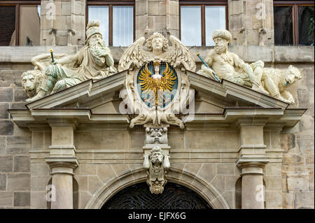 Large Nuremberg city coat of arms and allegorical figures, Old City Hall, also Wolff'scher Bau, historic centre, - Stock Photo