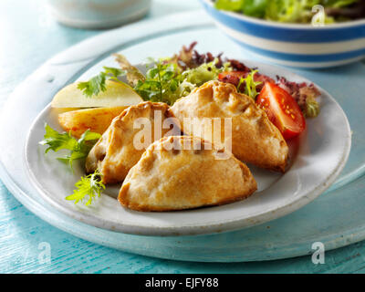 Mini Cornish pasty and salad - Stock Photo