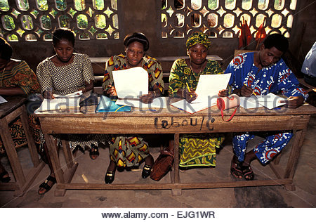 School for adults organized by french association, Benin - Stock Photo