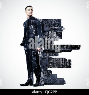 Double exposure of a city and professional businessman standing on white background - Stock Photo