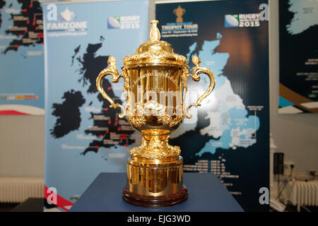 London, UK. 26th March 2015. England 2015 official Fan Zone locations and Webb Ellis Cup UK and Ireland Tour announcement. - Stock Photo