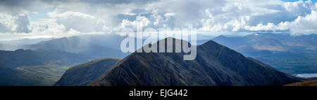 Panorama of Caher and south Kerry from Carrauntoohil, MacGillycuddy's Reeks, County Kerry, Ireland. - Stock Photo